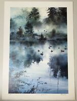 Tom Lynch Signed Numbered Watercolor Print Autumn Reflections Ducks Forest Pond
