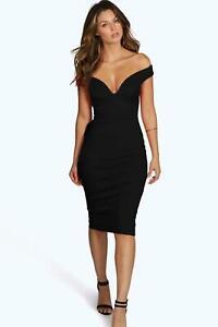 Boohoo Elouise Velvet Off Shoulder Bodycon Dress Black UK 10 LN101 OO 03