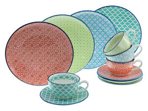 Mediterran Kaffeeservice 12 tlg Steinzeug CreaTable 4 Farbig zu 17362 19645
