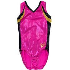 Girls GK From Elite Gymnastic Leotard Foil Metallic Pink/Black/Yellow Size S