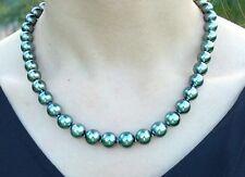 """Tahitian genuine black peacock green pearl necklace round huge 20""""12MM GENUINE"""