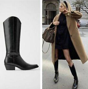 Zara Women Heeled Cowboy Boots Black 7052/001