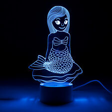 Mermaid 3D Optical illusion Colour Changing Lamp ideal for Children or Adults