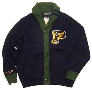 Polo Ralph Lauren Men's Hunter Navy/Green Camo P-Wing Letterman Cardigan Sweater