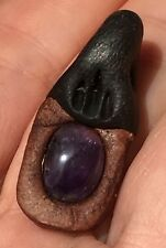 """Amethyst / Ansur Rune Symbol """"Wisdom"""" Real Gemstone Pendant: Fairytale & Fantasy"""