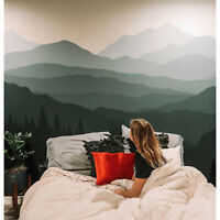 Mountain view removable green wall mural Reusable self adhesive wallpaper