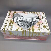 "Punch Studio Paris Decorative Storage Box Eiffel Tower Gold Pink Keepsake 17"""