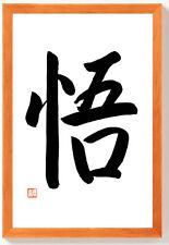 ERLEUCHTUNG Original japanische Kalligraphie Japan Schriftzeichen Rahmen Braun