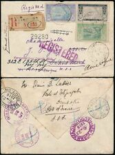 FRENCH IVORY COAST 1916 REGISTERED DIMBOKRO to USA REDIRECTED...SMALL ENVELOPE