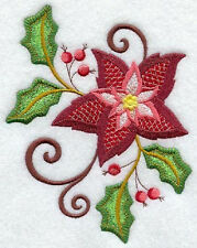 JACOBEAN POINSETTA  EMBROIDER SET 2 BATHROOM HAND TOWEL BY LAURA