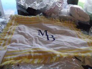 Pottery Barn Kids Fringe Border Monogram Pillow Cover 12 X 16 yellow mono MB
