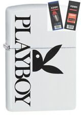 Zippo 29579 Playboy Bunny Logo White Matte Lighter with *FLINT & WICK GIFT SET*