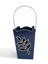 Blue Wood Container with Handle and Open Cut Work Leaves of Silver Sparkles