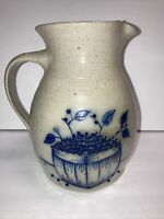 "Salmon Falls Salt Glazed Stoneware Pitcher 1993 Blueberry Basket 7.5"" Dover NH"