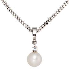 NEU Anhänger echt 585 Gold 14 Karat Weißgold Süßwasser Perle Diamant für Kette
