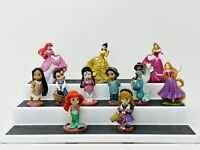 Lot of 11 Disney Princesses Sparkle Glitter Toy Figurines Cake Topper Figures