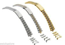 New Ladies 12mm & 14mm  Straight or Curved Metal Watch Band Bracelet