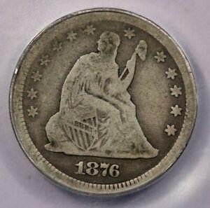 1876-CC 1876 Seated Liberty Quarter ICG G6