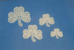 "Off-White ""Shamrock/Clover/St Pat's Day"" Machine Embroidered Lace Doily- 4 SIZES"