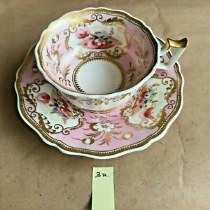Antique floral hand painted  cup and saucer