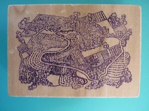 Neighborhood Aerial View,Unique  Rubber Stamp