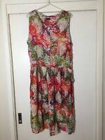 Ladies Boho Rainbow Tie Dye Shift Dress Size L Good Condition