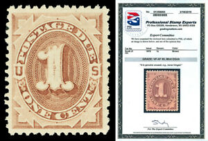Scott J1 1879 1c Brown Postage Due Issue Mint Graded VF-XF 85 NH with PSE CERT!