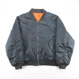 Vintage Reversible Blue 90s Regular Casual MA1 Bomber Jacket Mens XL