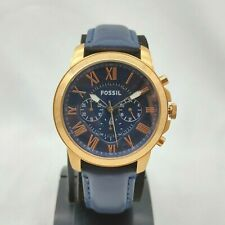New Old Stock Fossil FS4835 Grant Chronograph Navy Leather Men's Watch