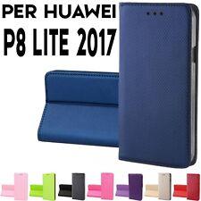 Custodia per Huawei P8 Lite 2017 cover a Libro Portafoglio chiusura magnetica