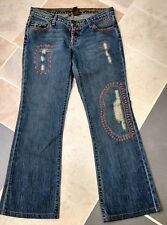 Switch USA 27 x 28 Embroidered X Stitched Distressed Wide Leg 100% Cotton Jeans