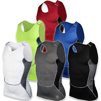 Men Sleeveless Compression Base Layer Tops Gym Running Sports Tank Vest Athletic