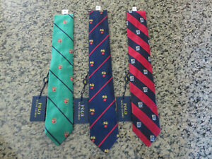 Polo RALPH LAUREN Silk Tie Striped Silk Crest Lion Shield Collegiate Italy