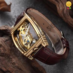 Mens Manual Bridge Mechanical Watch Rose Gold Brown Leather Diasteria 1688