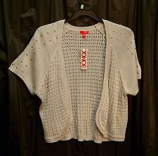 LT GRAY STUDDED OPEN FRONT/WEAVE KNIT CARDIGAN JACKET SWEATER SHRUG TOP~3X~NEW