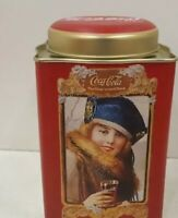 """COLLECTABLE GREEN COCA COLA TIN """"THE YEAR ROUND DRINK"""" SQUARE WITH ROUNDTOP"""