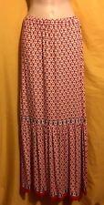 Max Edition women's coral cream retro print long maxi stretch dress skirt L $78