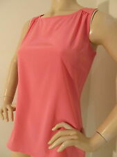NEW ST JOHN KNIT WOMENS SHELL TOP  BLOUSE SIZE 4 SILK SPANDEX FLAMINGO