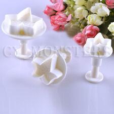 3pcs Maple Leaf Shape Fondant Cookie Cake Sugarcraft Plunger Cutters Mold Tools