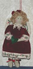 """ANGEL with CHRISTMAS HEART Plush Hanging Ornament 7 1/2"""" Tall Holiday Home Decor"""