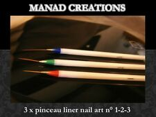 pinceau liner nail art striper ultra fin stylo gel uv acrylique lot de 3