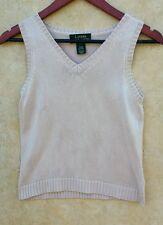 Lauren Ralph Lauren 100% SILK Knit Top light Pink V Neck Sleeveless Sweater PS