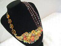 """HEIDI DAUS""""Autumn Abundance"""" (Floral/Veggie) Multi Beaded Necklace(Orig.$349.95)"""