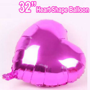 """32'' Self Inflating Rose Heart Shape Foil Balloons Wedding B""""day Party Balloons"""