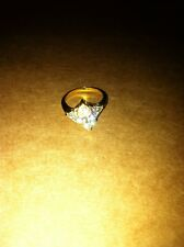Cocktail CZ Ring Sterling Silver Gold Plated Size US 6