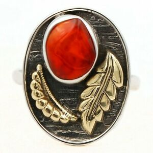 Two Tone Carnelian 925 Solid Sterling Silver Ring Jewelry Sz 9 ED29-6