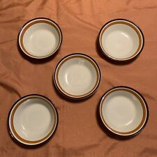 FIVE JI Stonecrest Andre Ponche Collection Cereal Bowls Brown with Orange Trim