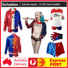 Harley Quinn Suicide Squad Full Costume Set Jacket Shirt Shorts Glove Halloween