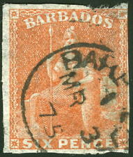 Barbados 1870 6d Britannia faulty Watermarked Large Star SG#46 used £80 $105