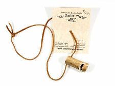 Real deer antler whistle necklace on suede leather cord